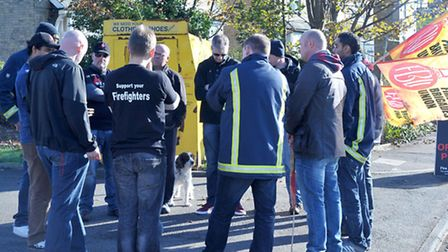 Firefighters Picketing outside March fire station. Firefighters strike meeting. Picture: Steve Willi