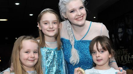 Frozen singlalong at the Light Cinema, Wisbech.Queen Elsa with children dressed as frozen. Picture: