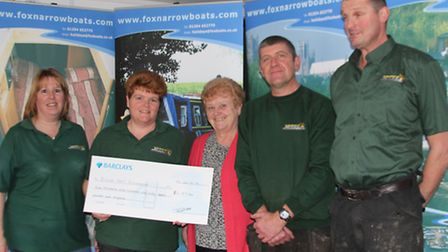 Tracey Baxter, finance director 2nd lef,t with staff at Fox Narrowboats