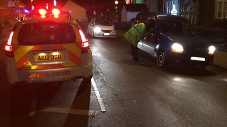 Police carry out a drink drive check.
