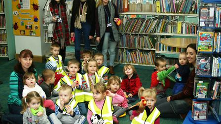 Students (L to r) Charlotte Williams, Dominique Coleman and Kayleigh Orviss with children at the rhy