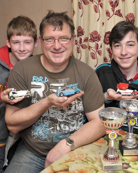 World Final of Slot Stox. Sam Julian and Tom Moat with their Slot Stox cars.