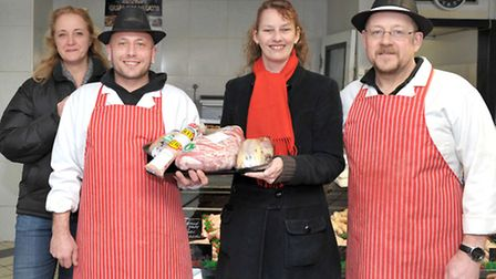Christmas dinner donations. Left: Lisa Moore, Mark Field, Pam Hobbs and Dave Lyons. Picture: Steve W