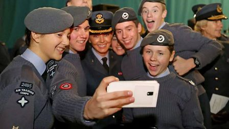 Joe Goodman takes a selfie with Carol Vorderman and some other cadets.