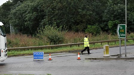 The A142 closed following an accident near Mepal, earlier this year.
