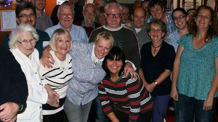 Chris and Julie Pope with regulars at the last quiz.