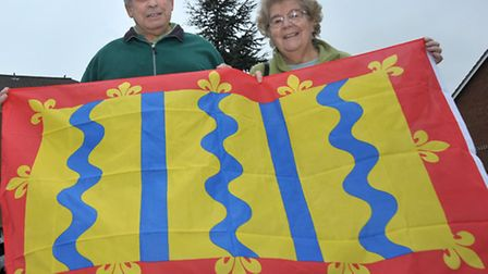 Cambridgeshire Flag, Left: Ken and Heather Batchelor with the Cambridgeshire flag they bought from L