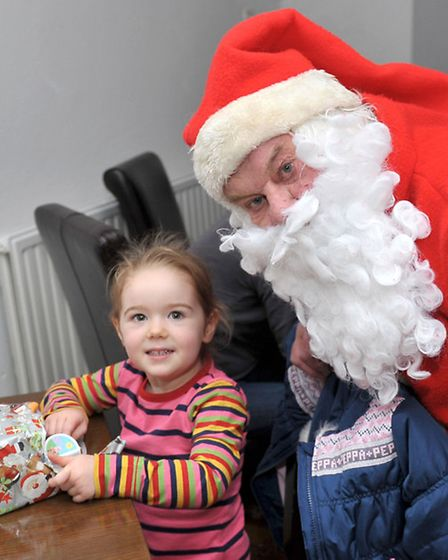 Breakfast with Santa at Almonry Restaurant & Tea Rooms.High St, Ely.Isla Brown with santa. Picture: