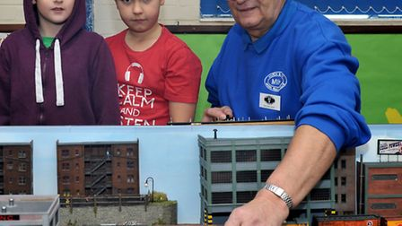 March & District Model Railway Club .Model Railway exhibition.Ben, Cameron and Mike Wyldbore. Pictur