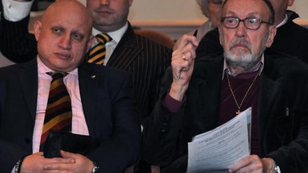 The Estover public meeting on Wednesday had a strong UKIP presence. Front row (left) is Andrew Chara