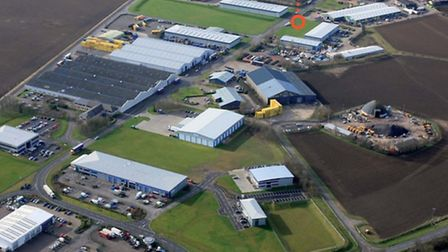 An aerial view of Lancaster Way Business Park, with the area set aside for new business units marked