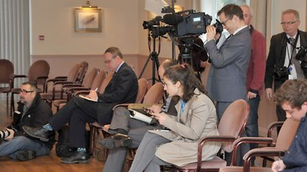 Ruth Neave and Gary Rogers at the press conference, Held at the Oliver Cromwell hotel, March. Pictur