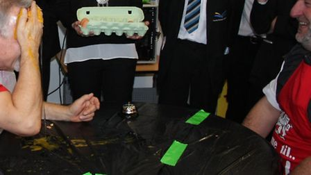 Assistant Principal Jonathan Holmes (left) versus Progress Leader Gerwyn Williams in the egg-citing