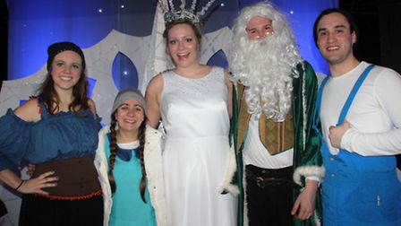 Ellie Gillett as the Snow Queen with the rest of the Saltmine Theatre Company: Becky Pengilley, Anna