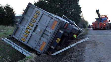 Recovery of lorry at Tipps End. Wisbech. Picture: Steve Williams.