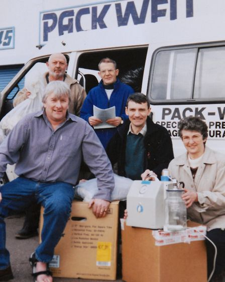 Andy Lee with medical equipment collected for Romanian orphanages
