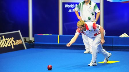 World Bowls action from Potters leisure resort, Hopton between Greg Harlow (red) and Stewart Anderso