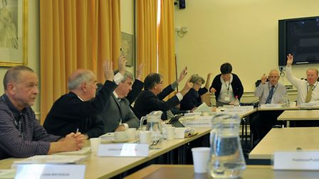 General Purposes Committee. County Hall, Cambridge.Estover playing field. Councillors voting on leas