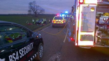 Police and fire crews attend the RTC.