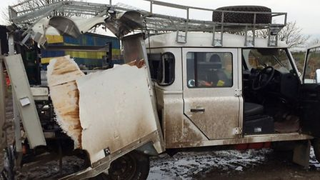 Damage caused to the van in the explosion.