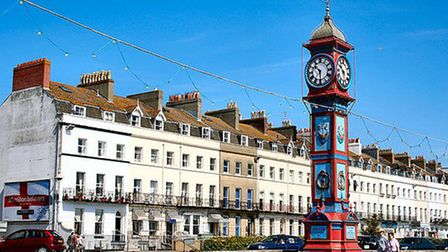 The Jubilee clock in Weymouth where paramedics tried to save David Prior