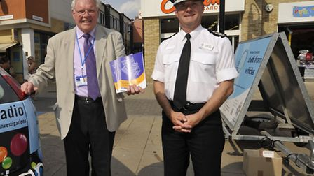 Police and Crime Commissioner Sir Graham Bright with (right) Chief Constable Simon Parr
