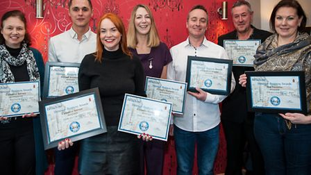 The winners and runners-up of our Dunmow Business awards at the Angel and Harp pub.