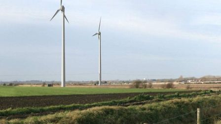 An artist's impression of the turbines from a footpath near the application site.