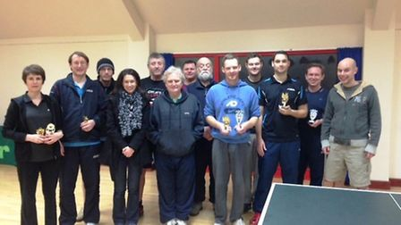 Ely Table Tennis Club, with double-trophy winner Ashley Rowe.
