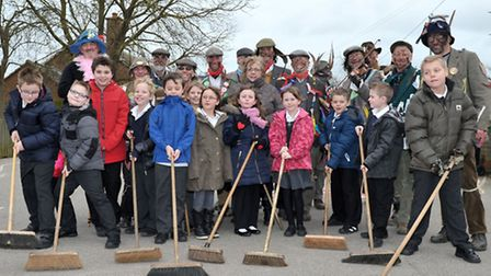 Plough Monday - Mepal molly men at Mepal and Witcham Primary School. Picture: Steve Williams.