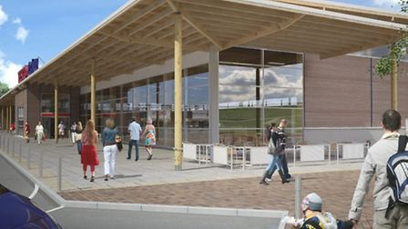 An artist's impression of the proposed Tesco superstore in the Octagon Park development, in Ely.