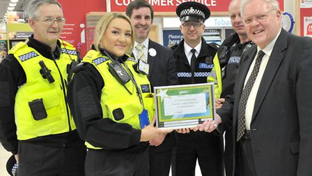 Police Contact Point meeting, Tesco, Wisbech. Left: Pcso David Russ, Pcso Megan Sargent,Tesco store