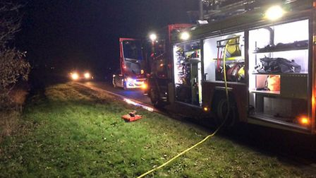 One lane of the A142 was cordoned off while firefighters tackled the blaze.