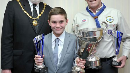 Whittlesey Town Council Citizen of the Year. Left: Mayor of Whittlesey David Mason, Young citizen of