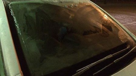 Police stopped this car whose windscreen had not defrosted.