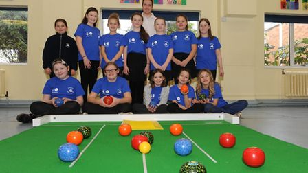 Rob Elmore with year 6 pupils at Westwood Junior School. Picture: Rob Morris.