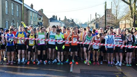 Runners at the start line for the annual New Year's Eve 10k.