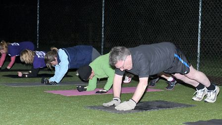 Not so bad when you get the hang of it! Spring into Summer Boot Camp.Picture: Steve Williams.