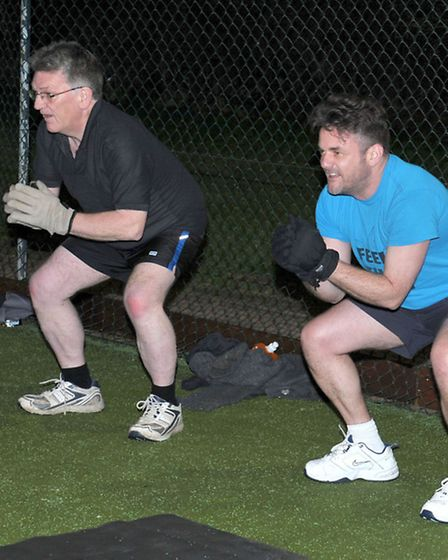 Tehcnical term is a squat. It does work we promise! Spring into Summer Boot Camp.Picture: Steve Will