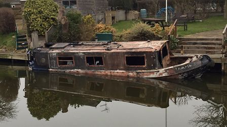 The burnt-out boat. Picture: Kallum Ryan Mueller