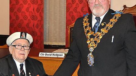 Wisbech Council presentation.Mayor presents Tommy Thompson with Arctic Star medal.