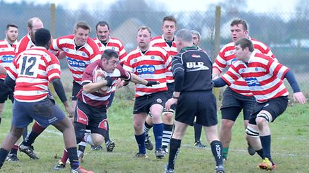 Simon Whittaker leads the charge against Haverhill. Picture: Steve Williams.