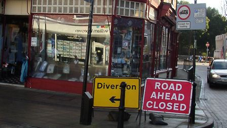 Road signs for diverted traffic in Wisbech