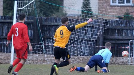 Dan Woods celebrates his first goal. Picture: Steve Williams.