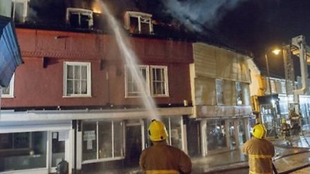 The fire in Braintree's High Street. Photo: Essex County Fire and Rescue Service.