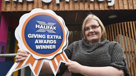 Michelle King celebrates winning the Halifax Giving Extra Awards for Peterborough. Picture: onEditio