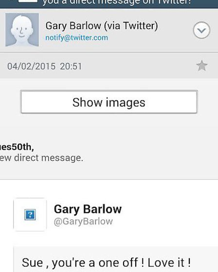 Sue and Graham Smith. with Tweet from Gary Barlow.