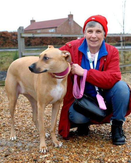 Marian Edrupt with her dog Rea that she re-homed from Ravenswood three years ago