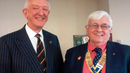 Stephen Bourne, chief administrator of Ely Cathedral, and Bernard Arnold, president of Ely Rotary Cl