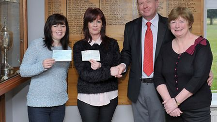 March Golf Club club captain presented a donation to the local charity Young People March. Left: Jan